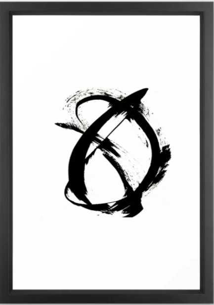 Brushstroke 7: a minimal, abstract, black and white piece Framed Art Print - Society6