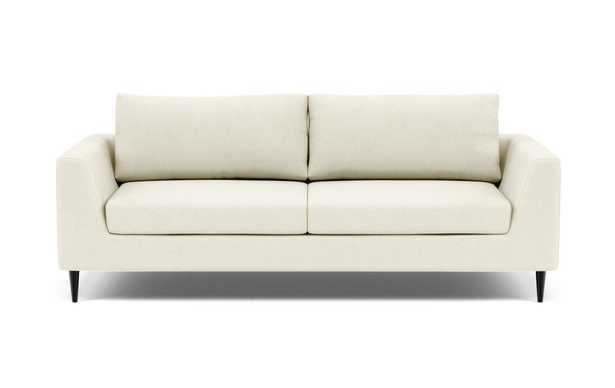 Asher Sofa - Ivory Heavy Cloth Unfinished GunMetal Tapered Round Metal - Interior Define