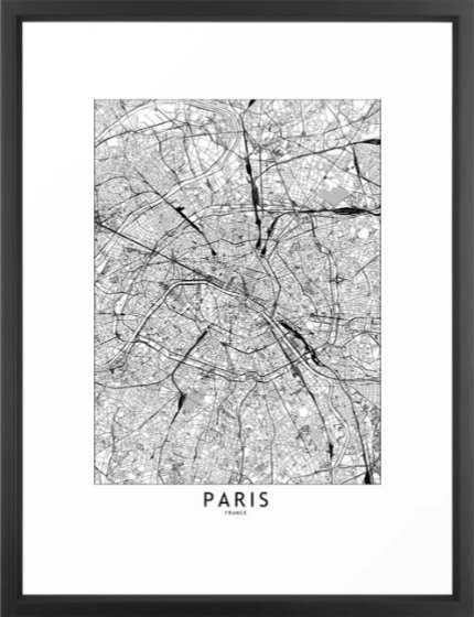 Paris White Map Framed Art Print - Society6