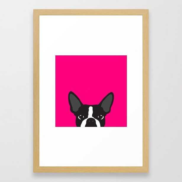 Boston Terrier Hot Pink Framed Art Print - Society6