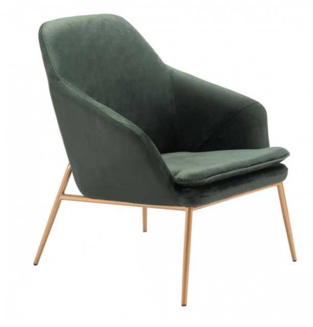 Debonair Arm Chair Green Velvet - Zuri Studios