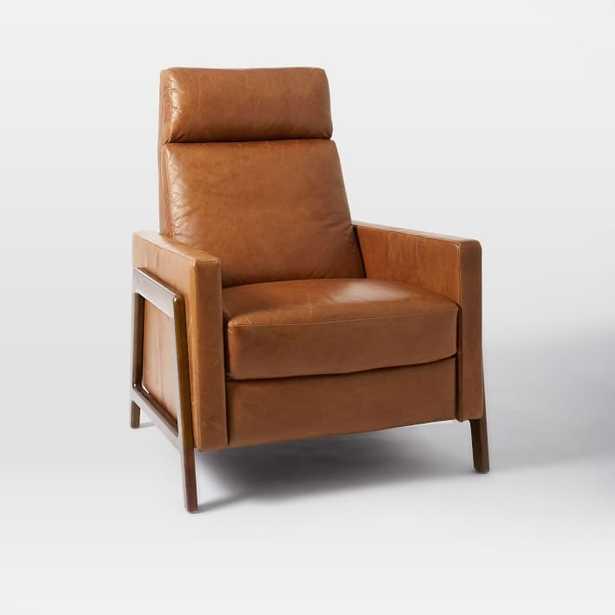 Spencer Wood Framed Recliner, Nut, Saddle Leather - West Elm