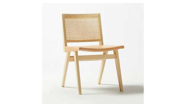 CLAUDE CANE AND LEATHER DINING CHAIR - CB2