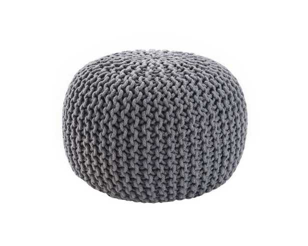 Spectrum Pouf Textured Grey Round Pouf - Collective Weavers