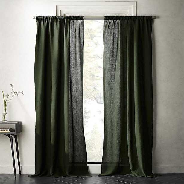 "forest green linen curtain panel 48""x96"" - CB2"
