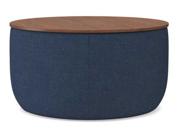 Upholstered Storage Base Ottoman, Large, Performance Yarn Dyed Linen Weave, French Blue, Dark Mineral - West Elm