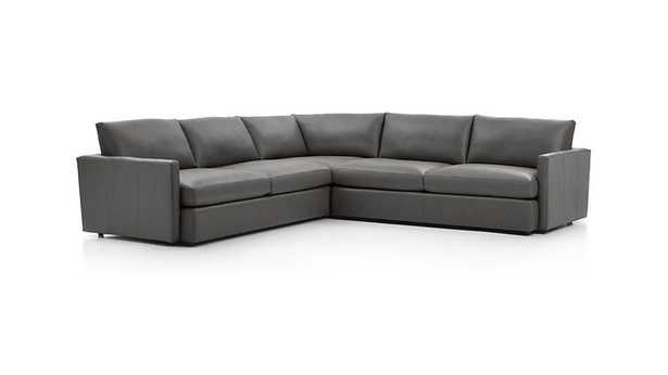 Lounge II Leather 3-Piece Sectional Sofa-Leather: Lavista, Slate - Crate and Barrel