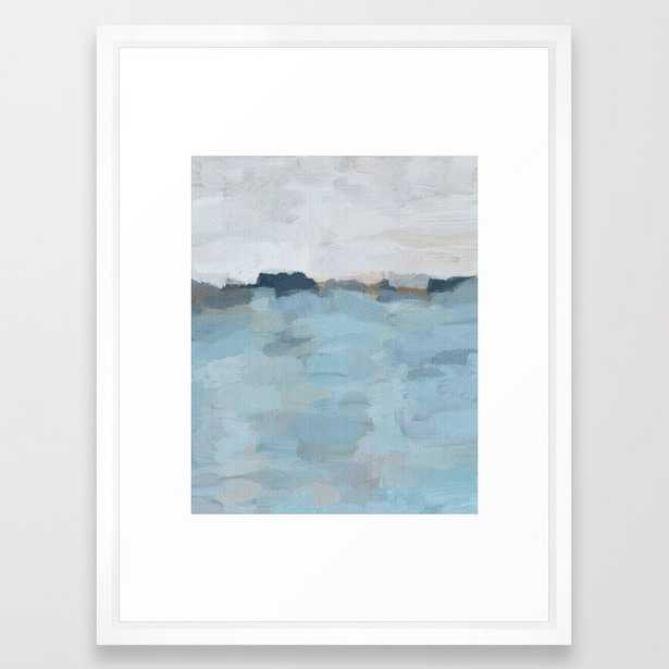 """Navy & Baby Blue Abstract Nature Art Painting Framed Art Print - 20"""" x 26"""" - White Vector Frame - Society6"""