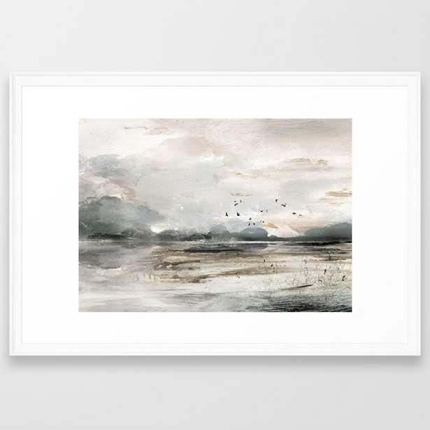 Seascape Sunset Painting Framed Art Print - Society6
