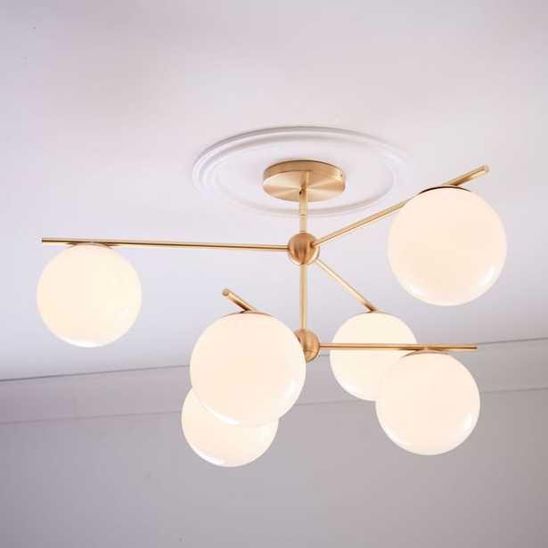 Sphere + Stem Convertible Chandelier, Brass/Milk Glass, 6-Light - West Elm