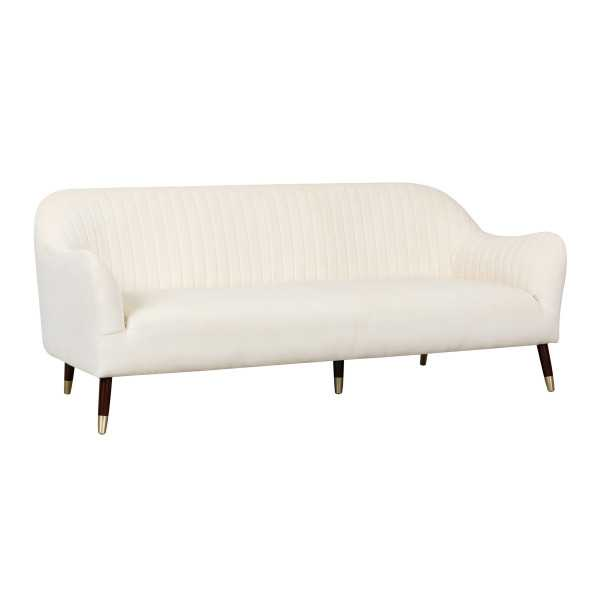 Natalia Cream Velvet Sofa - Maren Home