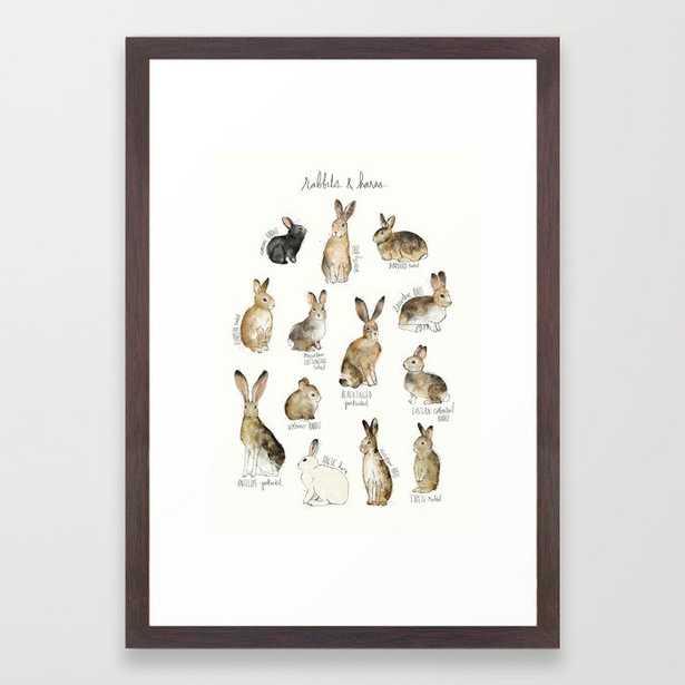 "Rabbits & Hares Framed Art Print - Small 15""x21"" - Conservation Walnut - Society6"