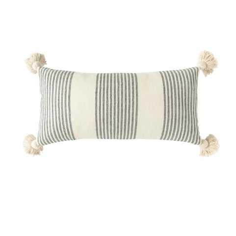 "Perry Striped Lumbar Pillow, Gray, 27"" x 14"" - Cove Goods"
