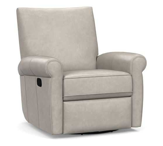 Grayson Leather Swivel Recliner, Polyester Wrapped Cushions, Statesville Pebble - Pottery Barn