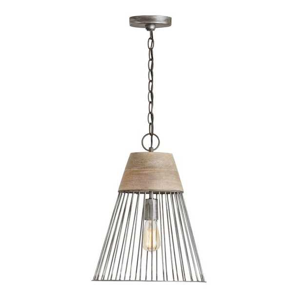 Adrianna 1 - Light Single Cone Pendant with Metal Accents - Wayfair