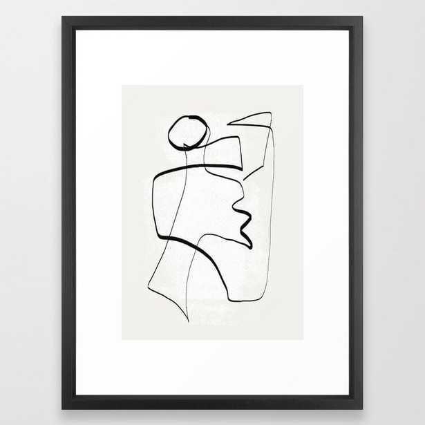"Abstract line art 6 Framed Art Print, 20x26"", Vector Black - Society6"