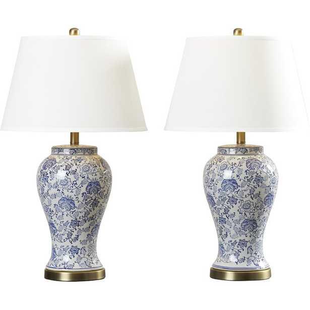 """Spring Blossom 29"""" Blue/White Table Lamp Set (Set of 2) - Wayfair"""