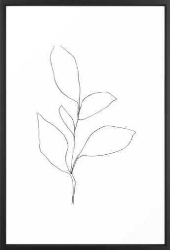 Five Leaf Plant Minimalist Line Drawing Framed Art Print - Society6