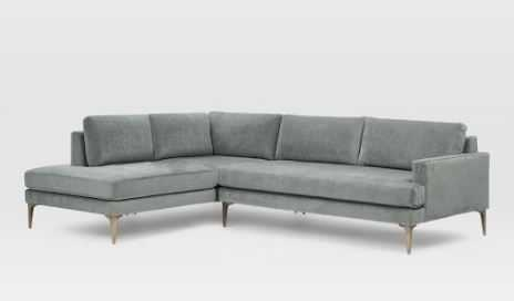 Andes Sectional Set 14: Right Arm 2.5 Seater Sofa, Left Arm Terminal Chaise, Poly, Distressed Velvet, Mineral Gray, Blackened Brass - West Elm