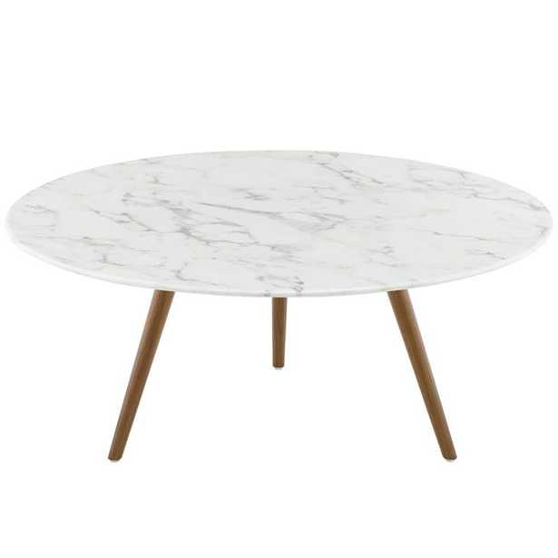 """Lippa 36"""" Round Artificial Marble Coffee Table with Tripod Base in Walnut White - Modway Furniture"""