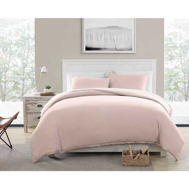 Morgan Home Fashions Eco-Friendly Recycled Cotton Blend T-shirt Jersey Pink Duvet and Sham Set, King - Home Depot