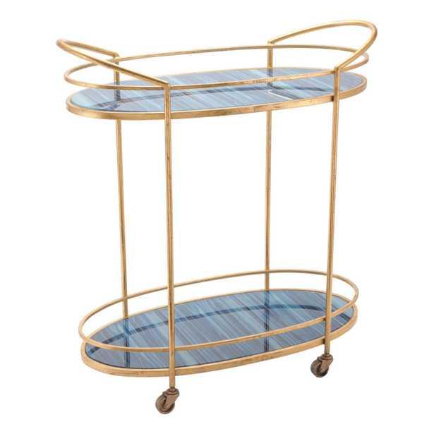 Zaphire Bar Cart Blue & Antique Gold - Zuri Studios