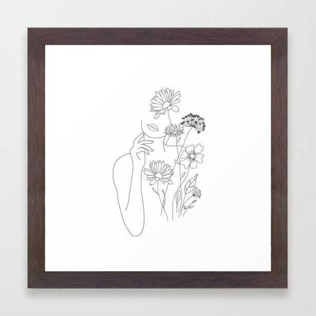 Minimal Line Art Woman with Flowers III Framed Art Print by Nadja- conservation walnut, 12x12 - Society6