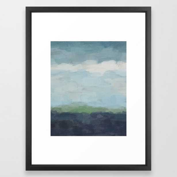 Navy Teal Aqua Sky Blue Green Abstract Wall Art, Painting Art, Nature Horizon, Modern Wall Framed Art Print - Society6
