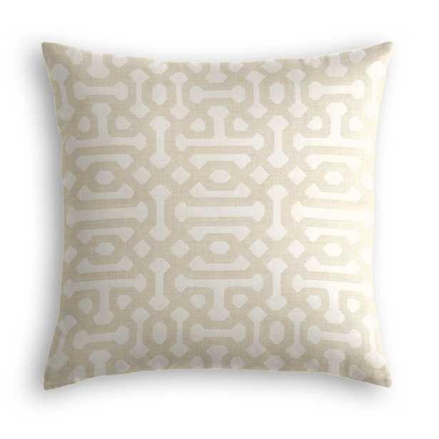"Outdoor Pillow  Sunbrella® Fretwork - Flax- 18"" sq with down insert - Loom Decor"