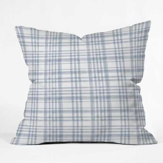 "WINTER WATERCOLOR PLAID BLUE Throw Pillow 18 x 18"" - Wander Print Co."