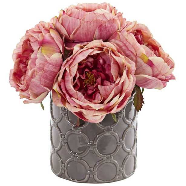 """Large Pink Rose 10"""" High Faux Flowers in Gray Ceramic Vase - Lamps Plus"""