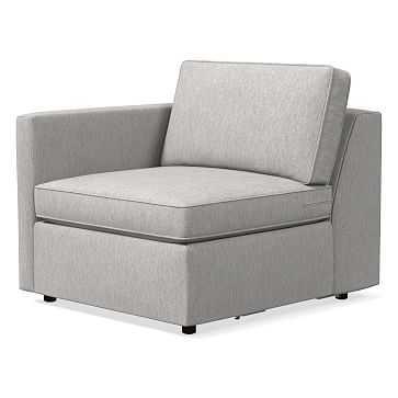 Harris Left Arm Chair, Performance Coastal Linen, Platinum - West Elm