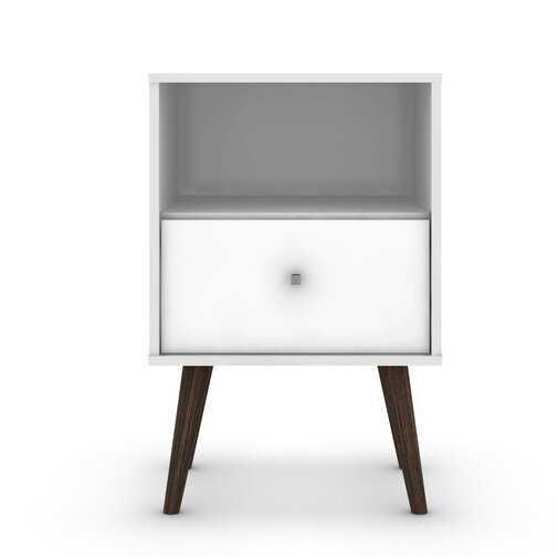Amory Mid Century Modern 1 Drawer Nightstand - White - Wayfair