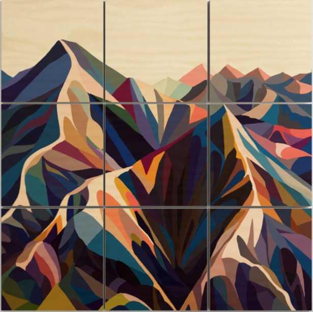 Mountains original Wood Wall Art 3 x 3 - Society6