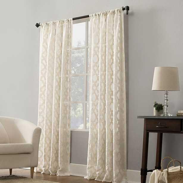 Micheal Trellis Geometric Sheer Rod Pocket Single Curtain Panel, White - Wayfair