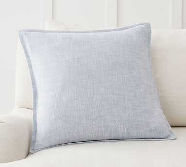 """Organic Cotton Casual Reversible Pillow Cover, 20 x 20"""", Chambray - Pottery Barn"""