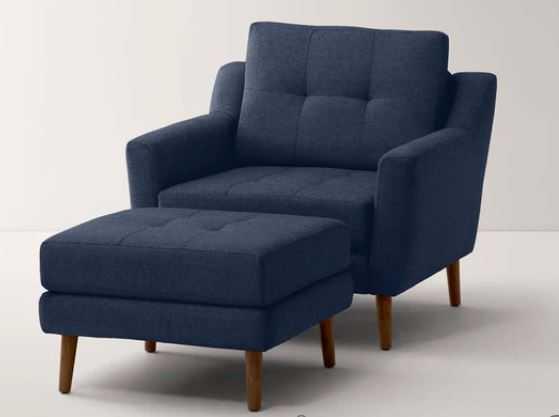 Armchair with Ottoman - Navy Blue Fabric - Burrow