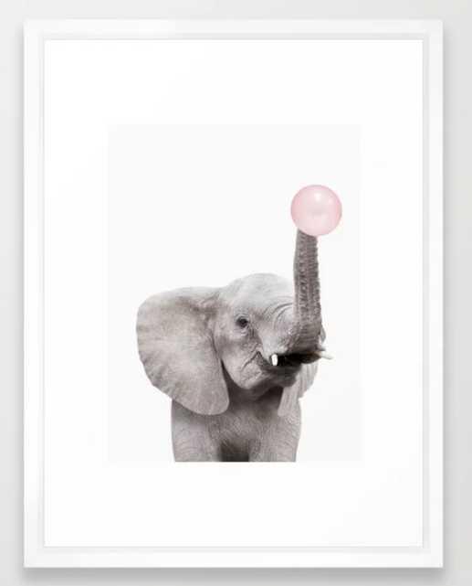 Bubble Gum Baby Elephant Framed Art Print - Society6