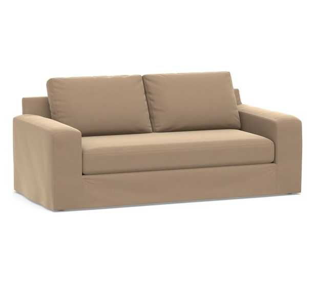 """Big Sur Square Arm Slipcovered Sofa 82"""" with Bench Cushion, Down Blend Wrapped Cushions, Performance Plush Velvet Camel - Pottery Barn"""