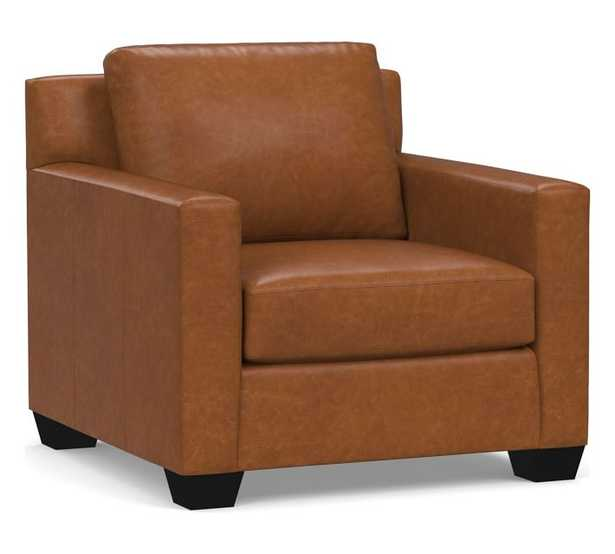 York Square Arm Leather Armchair Down Blend Wrapped Cushions, Statesville Caramel - Pottery Barn