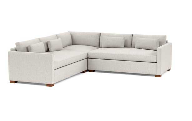 Charly Corner Sectional with Beige Wheat Fabric and Oiled Walnut legs - Interior Define