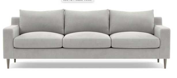 "SLOAN 3-Seat Sofa, 95"" Long, Standard (36"") Deep, Sterling Performance Velvet, Brushed Nickel-Plated Tapered Round Metal, Standard down blend Fill - Interior Define"
