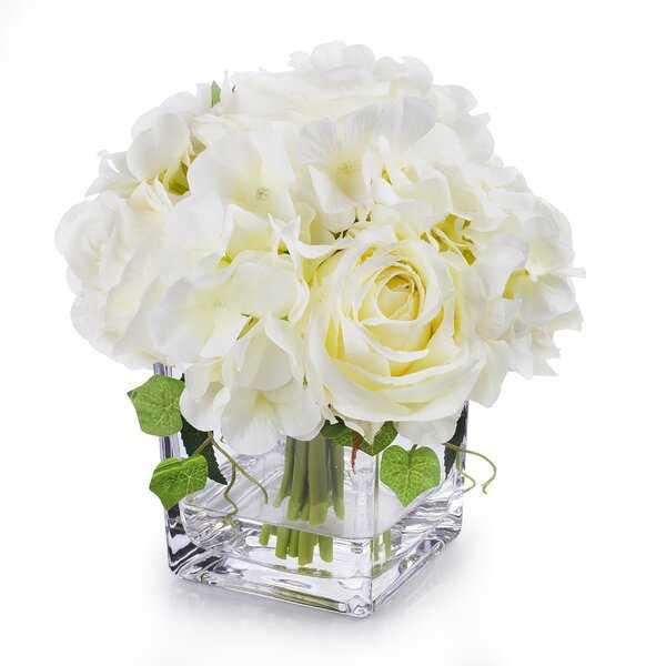 Hydrangea Flower Arrangement in Glass Vase - Wayfair