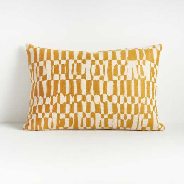 """Lyra Yellow and White Pillow 22""""x15"""" - Crate and Barrel"""