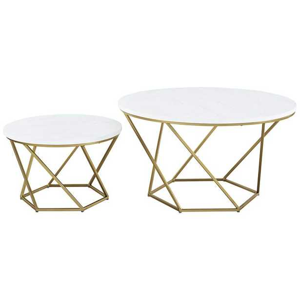 Geometric White Marble Top Nesting Coffee Tables Set of 2 - Style # 64J67 - Lamps Plus