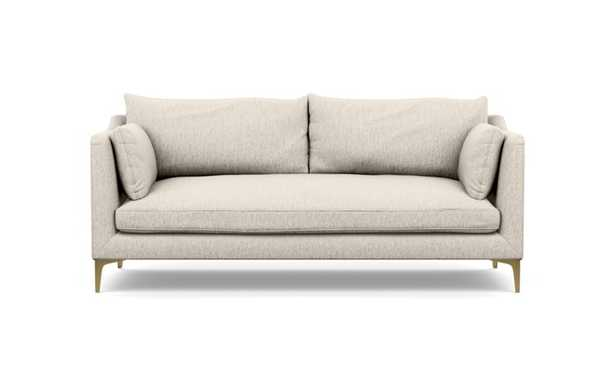 """Caitlin by The Everygirl Sofa with Wheat Fabric and Brass Plated legs, 79"""" - Interior Define"""