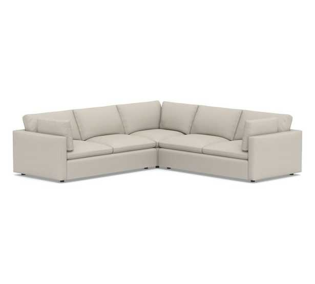Bolinas Upholstered 3-Piece L-Shaped Corner Sectional, Down Blend Wrapped Cushions, Performance Heathered Tweed Pebble - Pottery Barn