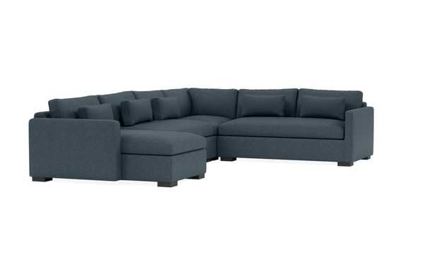"""CHARLY Corner Sectional with Left Chaise 143""""L x 108"""" / Indigo + Painted Black Block Leg - Interior Define"""