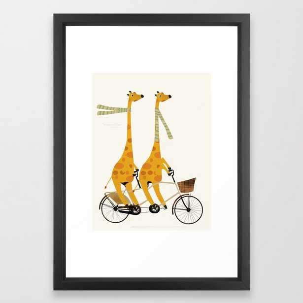 lets tandem giraffes Framed Art Print - 15x21, vector black frame - Society6