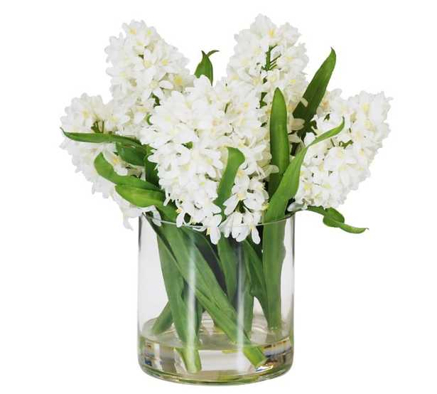 Faux Hyacinth in Cylinder Glass - White - Pottery Barn